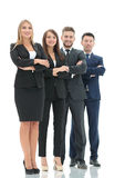 Team of successful and confident people posing on a white backgr Stock Images