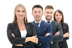 Team of successful and confident people posing on a white backgr Stock Photography