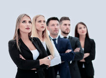 Team of successful and confident people posing on a white backgr Stock Photos