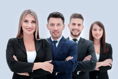 Team of successful and confident people posing on a white backgr Royalty Free Stock Image