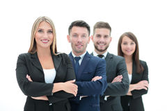 Team of successful and confident people posing on a white background Royalty Free Stock Photo