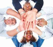 Team of sucessful business people looking down Stock Image