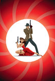 Team of super agents. Posing on camera. In gun barrel. Sexual wo Royalty Free Stock Image