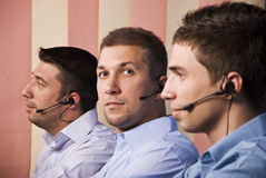 Team of support operator men stock photo