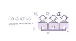 Team Support Technology Concept Banner de consultation avec l'espace de copie rayent légèrement Images stock