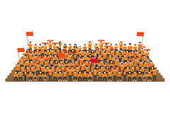 Team supporter on stadium seats stand. In orange shirts kit Royalty Free Stock Photography