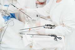 Team surgeon at work in operating room stock image