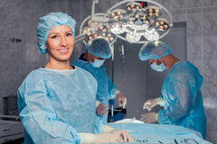 Team surgeon at work in operating room. breast Royalty Free Stock Images