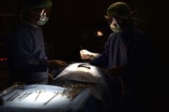Team surgeon at work in operating room. Surgical light in the operating room. Preparation for the beginning of surgical operation with a cut. The surgeon is Stock Image