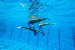 Team Swimming Girls sincronizado Imagens de Stock Royalty Free