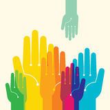 Team symbol. Multicolored hands Stock Photos