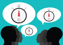Team talking about stopwatch timer. Stopwatch and time illustration concept Stock Photography