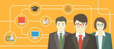 Team of Teachers with Educational Icons. Conceptual horizontal banner of a teaching staff with education icons Stock Photography