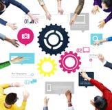 Team Teamwork Cog Functionality Technology-Bedrijfsconcept Stock Foto's