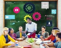 Team Teamwork Cog Functionality Technology-Bedrijfsconcept Stock Afbeeldingen