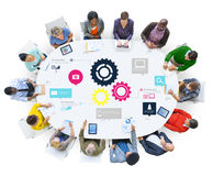 Team Teamwork Cog Functionality Technology-Geschäfts-Konzept Lizenzfreie Stockfotos