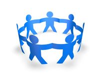 Team, teamwork concept with blue 3d people holding hands. On white background Stock Photo