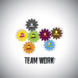 Team & teamwork of corporate employees & executives - concept ve. Ctor graphic. This illustration can also represent worker management, gears & cogwheels working Stock Photography