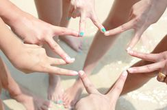 Team Teamwork Join Hands Partnership begrepp royaltyfri foto