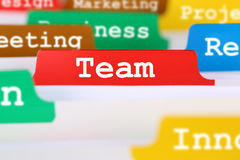 Team or teamwork office text on register in business services do Stock Photos