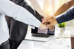 Team teamwork and partner concept, hand of businessman group me. Eting, collaboration and success in business stock image