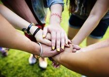 Team Teamwork Relation Together Unity-Vriendschapsconcept Stock Afbeeldingen