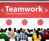 Team Teamwork Seminar Web Page som lär konferensbegrepp Arkivfoton
