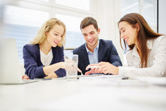 Team during teamwork and strategy discussion Stock Images