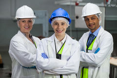 Team of technicians standing with arms crossed. At meat factory Stock Image