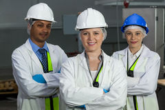 Team of technicians standing with arms crossed Stock Photos