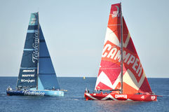 Team Telefónica and Team Camper in action training days in Alicante Bay, Volvo Ocean Race Stock Images