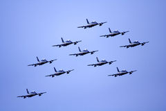 Team of ten aerobatic aircrafts Royalty Free Stock Photos