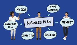 Team with their business plan royalty free stock photo