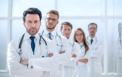 Team of therapists standing in the hallway. The concept of health stock photos