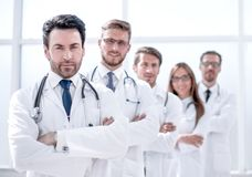 Team of therapists standing in the hallway. The concept of health stock photography