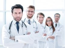 Team of therapists standing in the hallway. The concept of health royalty free stock image