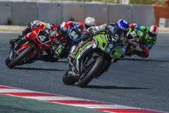 Team Thomas Superpole 24 Stunden Catalunya-Motorradfahren Stockbild
