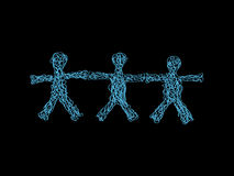 Team of Three. Freehand Hand Drawn Silhouettes of Three People With Open Arms Holding Hands Royalty Free Stock Images
