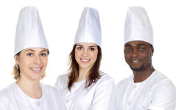 Team of three chefs. On a over white background Stock Photo