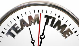 Team Time Clock Words Teamwork samarbetar Arkivfoton