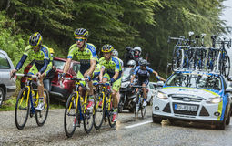 Team Tinkoff - Saxo and Alberto Contador in Pain Royalty Free Stock Image