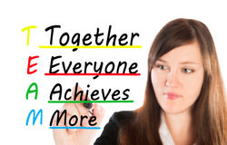 Team Together everyone achieve more. Writing together everyone achieve more Royalty Free Stock Images