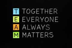 TEAM Together Everyone Always Matters Stock Fotografie