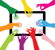Team touches the tablet PC Royalty Free Stock Photography