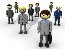 Team toys. 3d render business team of toys Royalty Free Stock Photos