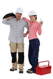 A team of tradespeople. Working together on a project Stock Photography
