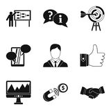 Team training icons set, simple style. Team training icons set. Simple set of 9 team training vector icons for web isolated on white background Royalty Free Stock Photos