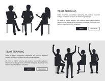 Team Training People Black Silhouettes Sit Chairs Illustrazione Vettoriale