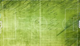 Team training soccer football session on the green pitch of a fo Royalty Free Stock Photo