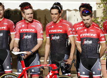 Team Trek Segafredo with Alberto Contador before training Royalty Free Stock Photo